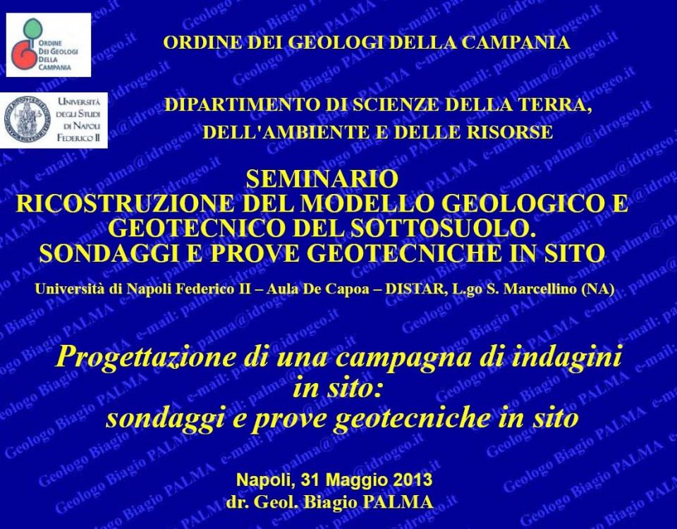 Seminario Ordine dei Geologi della Campania Seminario Ordine dei Geologi della Campania
