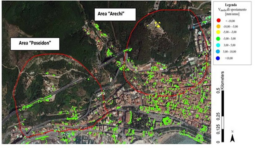 Mappa spostamento mm/anno