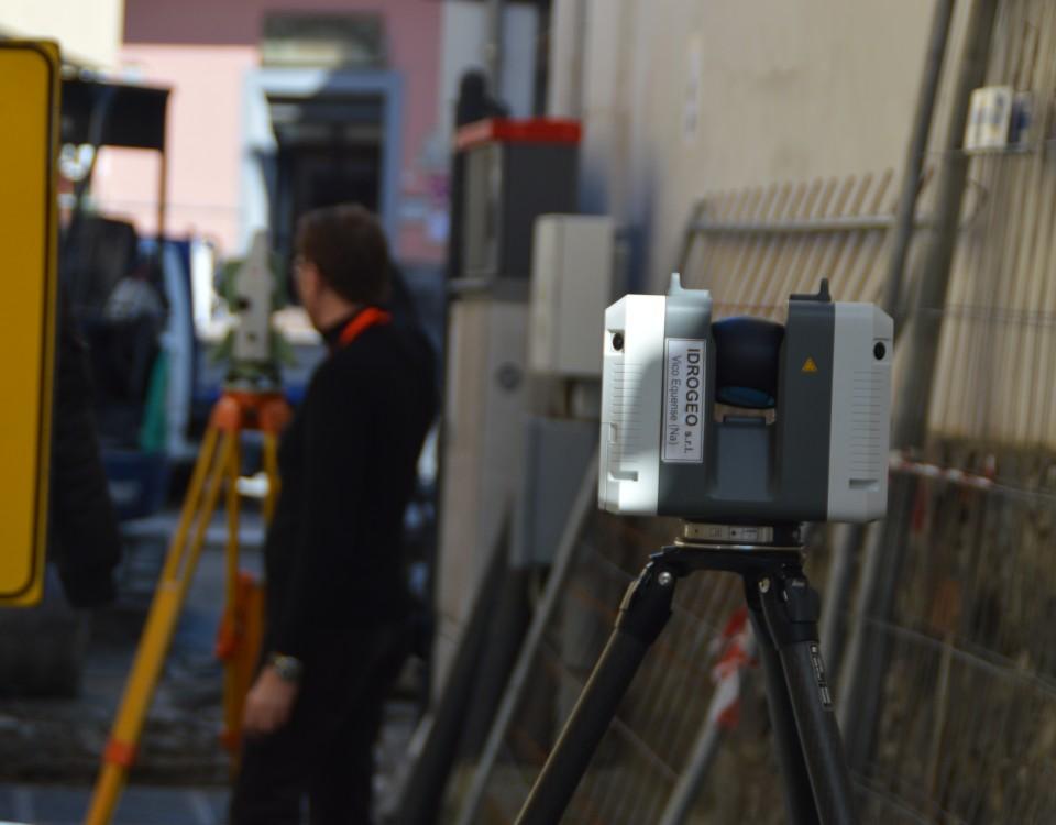Rilievi laser scanner di un collettore fognario