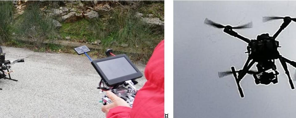 Fase d rilievo fotogrammetrico con drone Italdron 4HSE